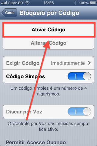 como configurar senha de acesso no ipad iphone e iPod touch-3