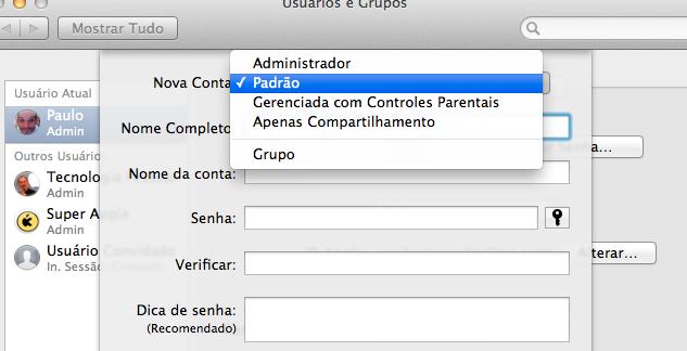 como criar uma conta de usuario no Mac