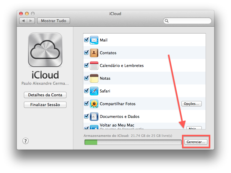 Como excluir dados do iCloud atraves do Mac OS X