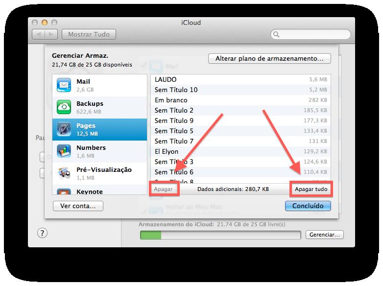 excluir os dados no iCloud