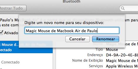 Como renomear o Magic Mouse