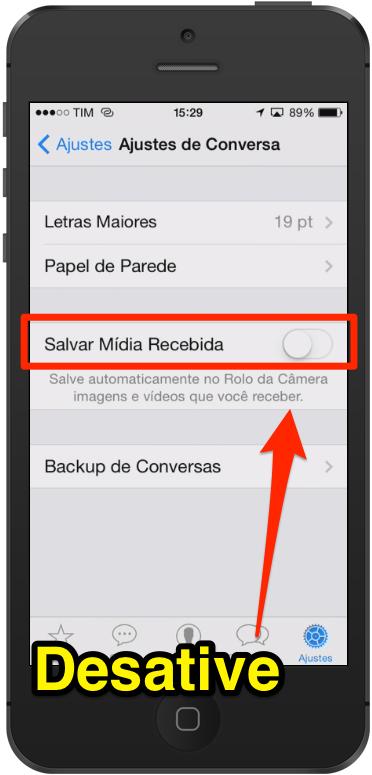 Fotos do WhatsApp no Rolo da Camera do iPhone como impedir